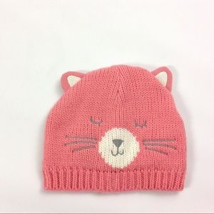 New Carters Size 4-8 Pink Winter Beanie Hat Cat